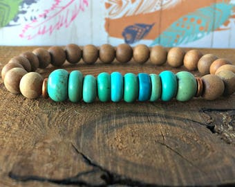 Sandalwood & Genuine Turquoise Bracelet, Wrist Mala Beads Earthy Boho Chic, Throat Chakra, Gratitude + Relaxation + Speaking from your Heart