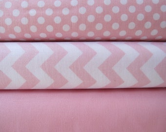 Baby Pink Small Chevron, Small Dot, and Solid Fabric Half Yard Bundle - Riley Blake Designs and Moda -1/2 Yard Bundle