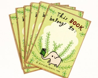 This Book Belongs To STICKER Bookplate Elephant Bookplate Ex Libris Baby Shower Bookplate