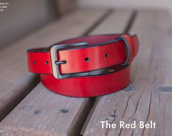 The Red Belt | Red Leather Belt | Men's Fashion Belt | Handmade in the U.S.A.
