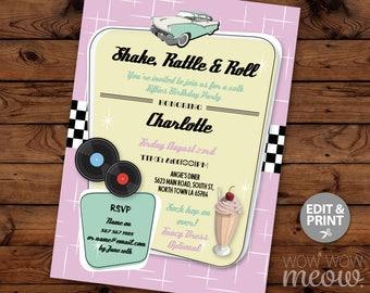 Shake Rattle & Roll 1950's Invitations Diner Rock N Birthday Invites INSTANT DOWNLOAD Pink Milkshake Retro 1950's Fifties Editable Printable