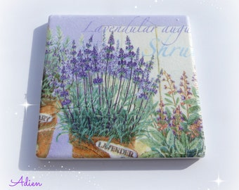 Ceramic Coaster, Lavender Flowers Individual Coaster, Gift Idea, Home Decor, Gardeners Gift