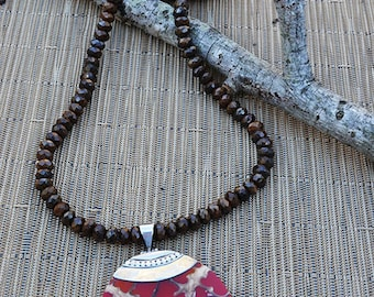 Brownzite Necklace-Red Shell Pendant Necklace-Brown Necklace-Bali Silver-Brownzite Beaded Necklace-Brownzite-Toggle Clasp