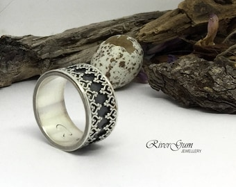 Crown Ring, Ladies Wide Sterling Silver Ring Band, Wedding Band, Commitment Band, Oxidized Finish, MADE TO ORDER