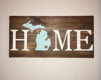 Home wood sign, michigan state, home state, custom design, no vinyl, hand painted, family gift, new home gift, Pick your state