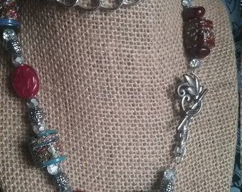 Garnet bead necklace with handmade beads