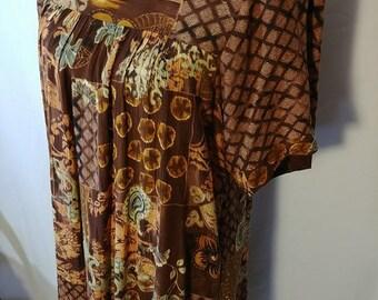 Hawaiian MuuMuu Dress / RM Hawaii / MuuMuu / Loose Fit / 1980s era Hawaii / Earth tones