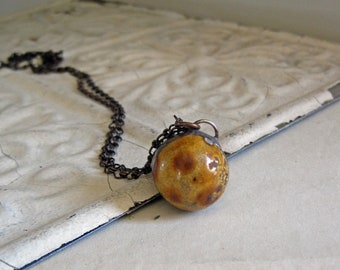 Bennington Clay Marble Pendant Long Necklace OOAK Jewelry