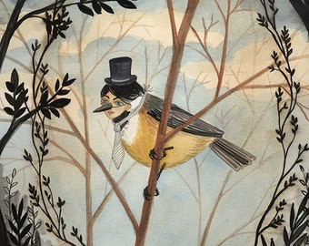 Gentleman Bird - 5x7 PRINT, Dark trees, Branch Framing, Victorian Gentleman, Art Illustration, Vintage Photographs, Elegant Wildlife