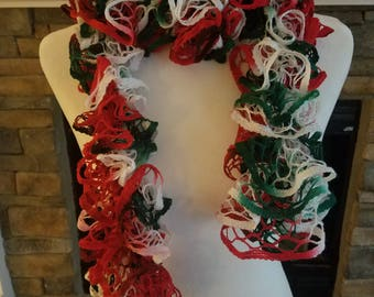 Beautiful Christmas / Holiday Ruffle Scarf!