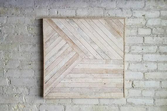 Reclaimed Wood Wall Art, Decor, Lath, Pattern, Geometric, Monochromatic, 24x24