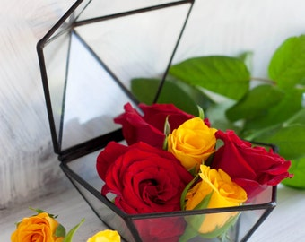 Wedding Glass Box/ Glass Card Holder /Pentagon Box /Lidded Photo Box / Jewelry Box / Picture Box / Wedding Card Box