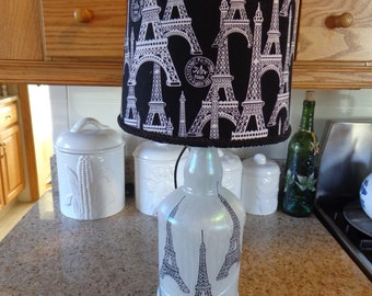 Folk Art Table/Desk Lamp (Eiffel Tower (Hand Sketched) & Eiffel Tower Shade)