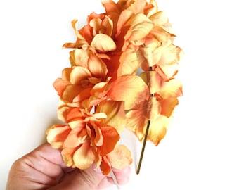 orange flower crown - bohemian hair accessory - floral hair piece - coachella hair accessory - women's flower headband - floral headband