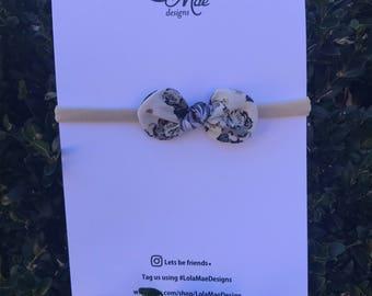 Traditional Two Toned Knot Bow, Nylon Headband
