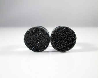 Black Sparkle Faux Druzy Plugs - Available in 1/2 in, 7/16 in, and 9/16 in