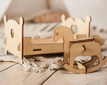 Bed and Rocking Horse Puzzle,Wooden 3D Toy,Educational wood toy,Toddler wood toys,Baby shower gift,Learning 3D toys,Wood Toy Bed,Toy Horse