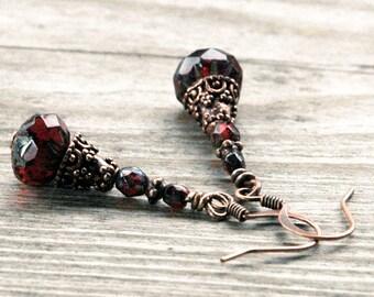 Dark Red Beaded Drop Earrings, Glittering Czech Glass Beads, Copper Accents, Lantern Shape, Gothic Edwardian Style, Boho Gypsy Spirit