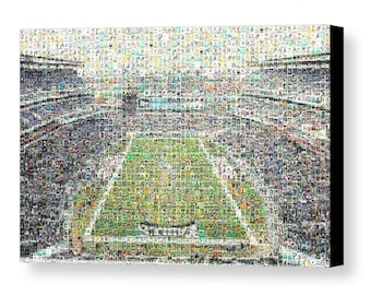 Unique, Large Philadelphia Eagles Mosaic Art Print of Lincoln Field made of over 375 Past & Present Player Cards. All Past Greats Included!