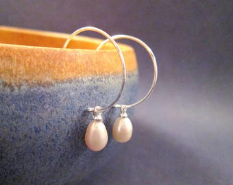 Pearl Earrings, White Freshwater Pearl and Silver Hoop Earrings, Teardrop Earrings, FREE Shipping U.S.