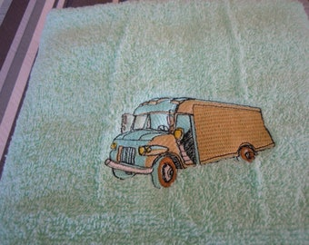 machine embroidered towel Terry color jade