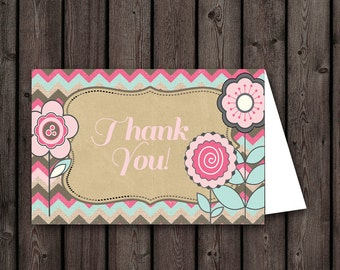 baby/bridal  shower flower thank you cards, instant download at purchase, two per page, printable