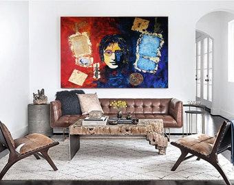 John LENNON Art Painting, Original Abstract Painting, Pop Art Painting, Living Room Decor, Wall Art Acrylic Painting by Kathleen Artist
