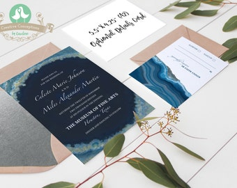 Agate/Geode Slice Wedding Invitation Set