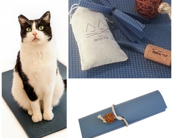 Cat Toys, Cat Mat, Wine Cork and Twine Ball Cat Toys, Catnip Toy, Slate Blue Yoga Cat Mat with Kitty Toy Yoga Props