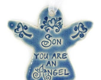 Christmas ornaments Son gift religious Christmas ornament Christmas gift for son angel ornament for son angel ornaments angel gift