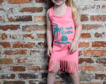 Beach Babe Dress, Summer Dress, Girls Fringe Dress, Little Girls Dress, Girls Beach Dress, Toddler Dress, Infant Dress, Baby Dress