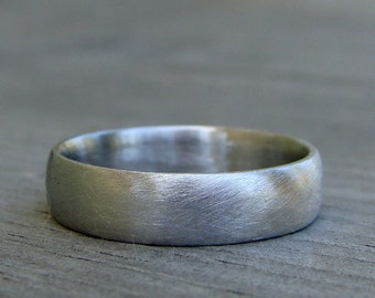 Recycled 950 Palladium Matte / Brushed Wedding Band, Comfort Fit, Eco-Friendly, Ethical, Made To Order