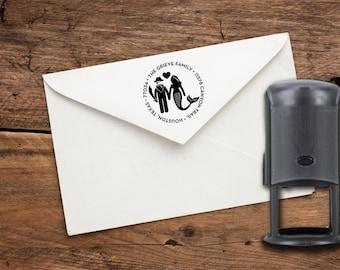Pirate & Mermaid Couple Custom Rubber Address Stamp - self-inking