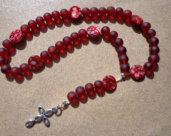 Lutheran Prayer Beads, Red Frosted Glass and Red Shell Beads, Antiqued Silver Tone Metal Cross, Protestant Prayer Beads, Christian Gifts