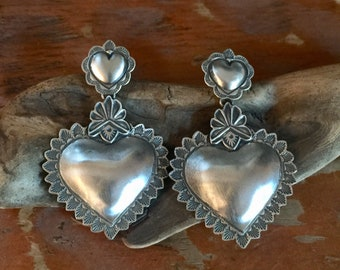 EBH1 Repousse Heart over The Santa Fe Heart repousse sterling silver southwestern native style earrings