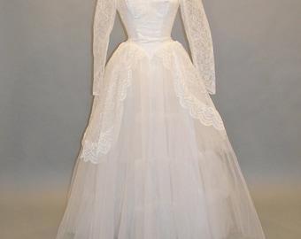1950s Wedding Dress, Vintage 50s Wedding Dress, White Tulle and Lace Bridal Dress