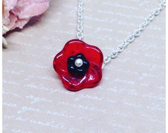 Poppy Necklace, Poppy Pendant, Poppy Jewellery, Poppy Jewelry, Red Poppy, Red, Floral, Red Flower, Silver, Poppy, Ella Rose, Gift For Her,