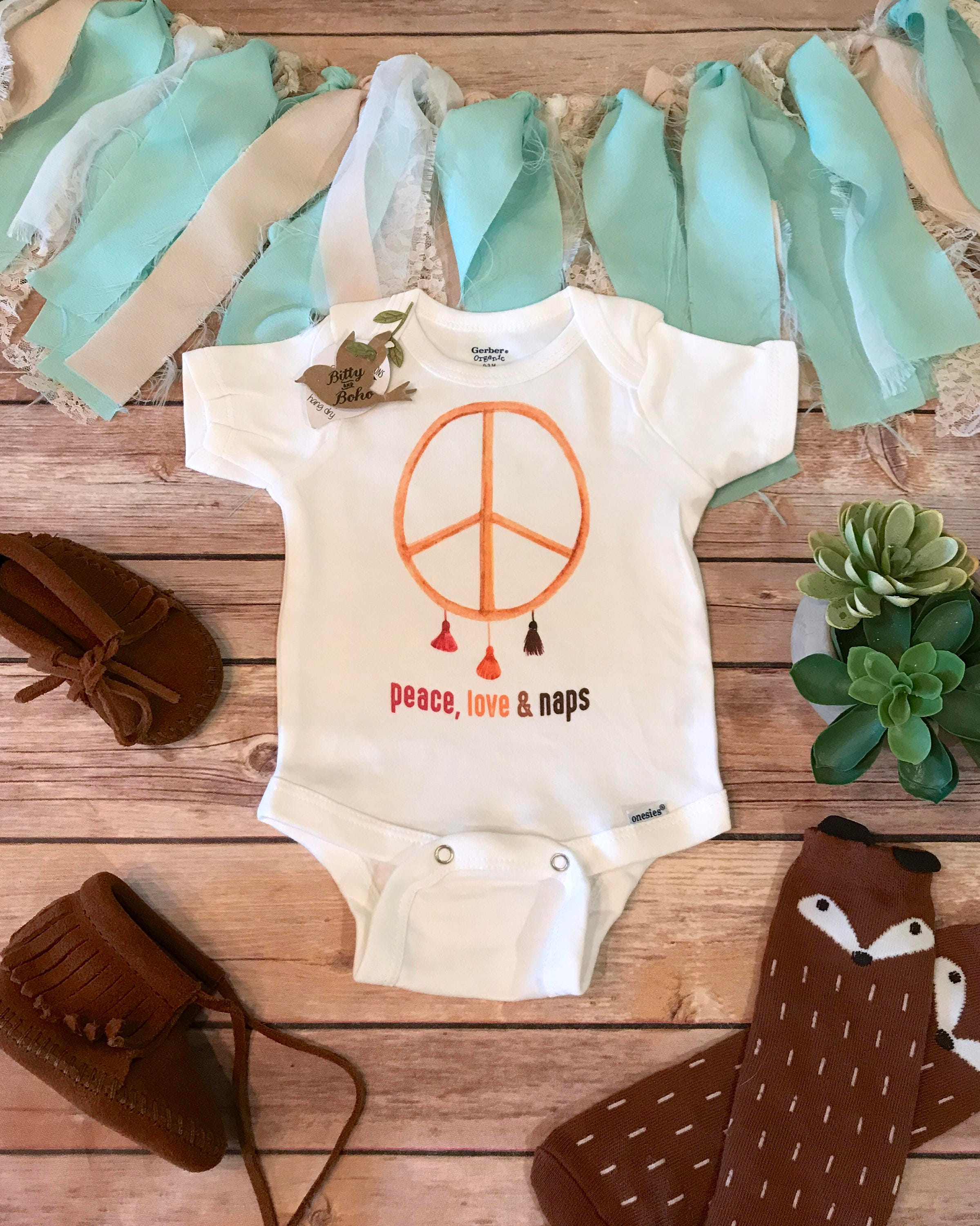 Baby Gift Peace Sign esie Cute Baby Clothes Baby Girl