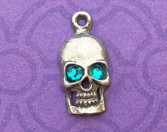 Handmade Skull Charm with Blue Zircon Crystal Eyes, December Birthstone, Lead Free Pewter, about 17mm x 9mm