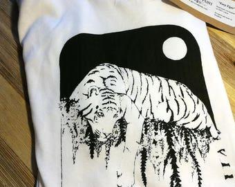 Tiger cotton t-shirt handmade screenprint