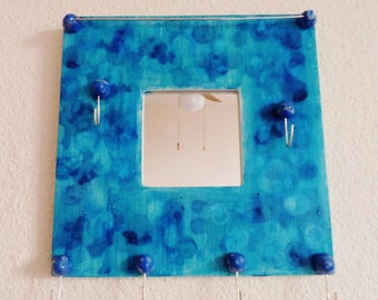Organizer wall blue turquoise with mirror