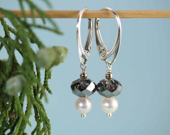 Silver Night Swarovski crystal with Pearl drop sterling silver lever back earrings by art4ear, gift for her under 35 USD, sparkly dangle