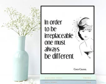 Coco Chanel poster, Coco Chanel quote, Celebrity quote, One must always be different, Gift for woman, Inspirational quote poster, Art deco