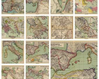 Vintage Maps Digital Paper, Old maps download, Old atlas download, maps textures digital paper, Vintage world maps, Instant Download