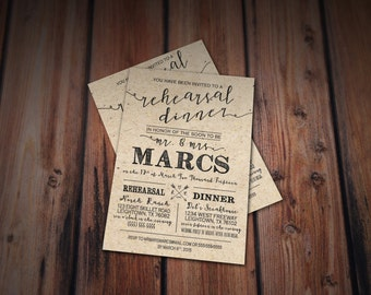 Rustic Rehearsal Dinner Invitation- Rustic Wedding, Chic Cottage Wedding