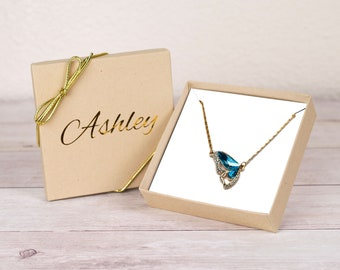 Blue Butterfly Necklace Gift for Her, Personalized Gift for Wife, Gift for Mom, Butterfly Jewelry, Girlfriend Gift, Cute Butterfly Pendant