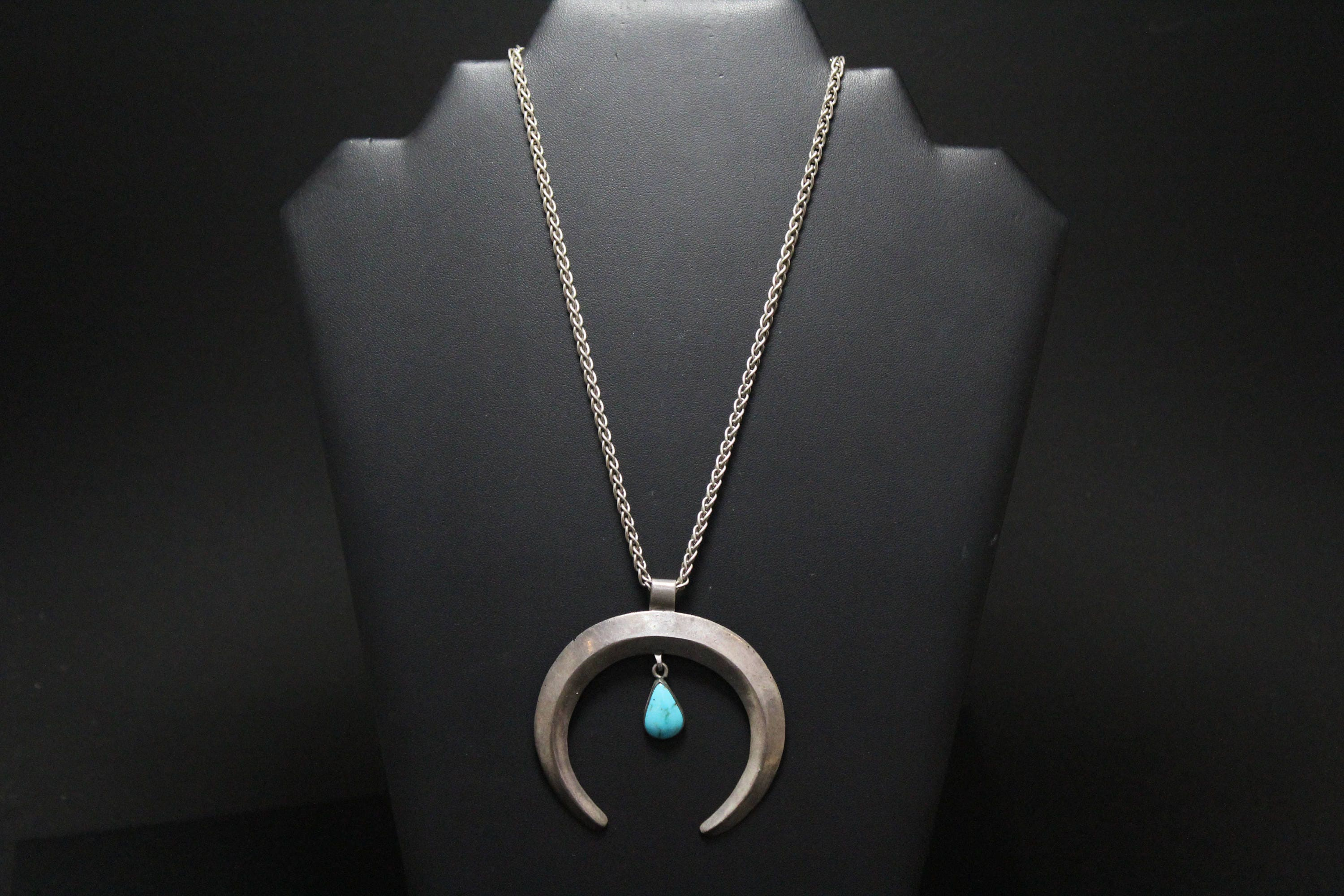 by turquoise american peter navajo blue necklace front ella moon pendant native