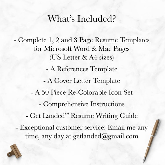 Modern Resume Template For Word And Pages Cover Letter - Pages resume templates