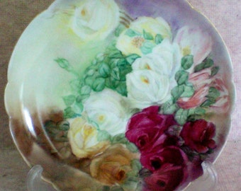 Beautiful Hand Painted Roses Plate marked France BM de M Limoges - 4706