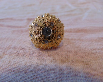 vintage kjl clear crystals gold sea urchin ring size 7